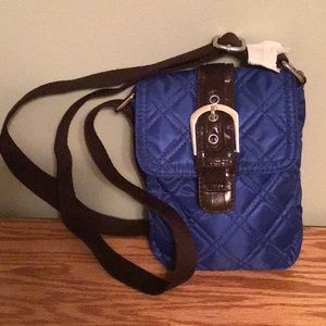 New Royal Blue with Brown Quilted Crossbody Bag